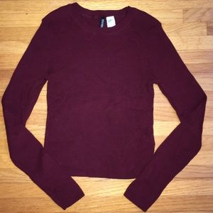 H&M maroon cropped sweater